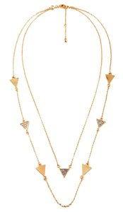 Gold Pave Triangle Pyramid Convertible Layering Necklace