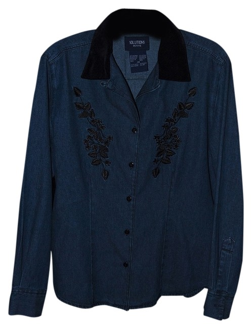 Preload https://item3.tradesy.com/images/blue-denim-new-women-s-embroidered-blouse-size-petite-6-s-1987947-0-0.jpg?width=400&height=650