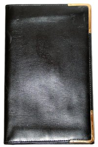 M & Co British Designer BLACK LEATHER WALLET PASSPORT CASE WITH ROLLED YELLOW GOLD TRIM