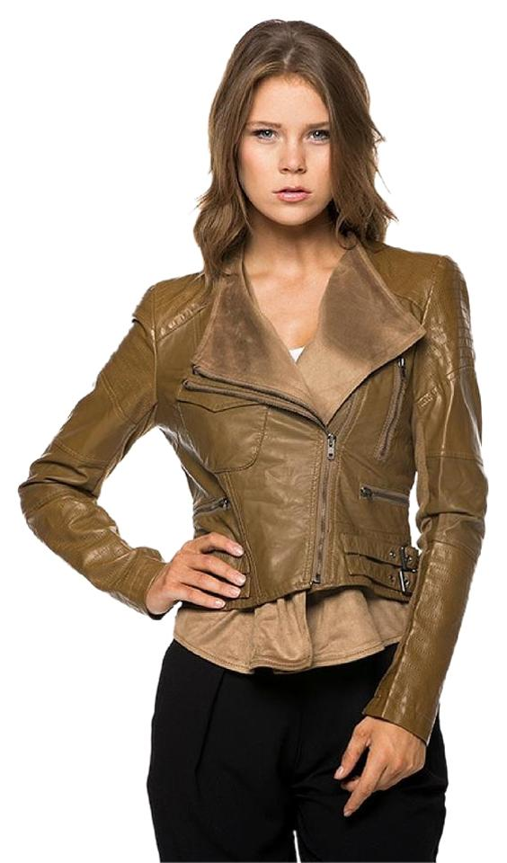 cbce3b54664 Camel Leather Moto with Suede Contrast Jacket Size 12 (L) - Tradesy