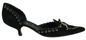 Prada Suede Grommets Chain Buckle BLACK AND WHITE Pumps