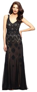 Sue Wong Lace Embellishment V-neck Pleat Gown Dress