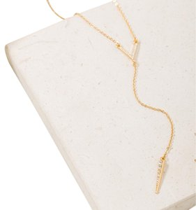 Gold Pave Chevron + Spike Y-Necklace
