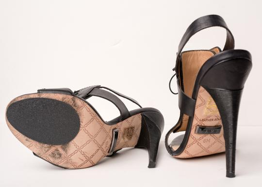 L.A.M.B. Slingback Lace Leather Black and Brown Platforms