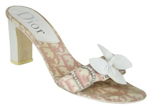 Dior Logo White Pink Butterly Rhinestone PINK, WHITE Sandals
