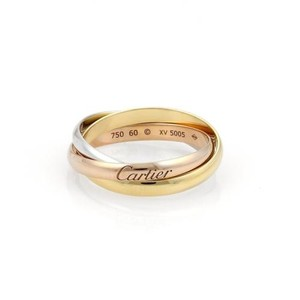 Cartier Cartier Trinity 18k Tri-color Gold 3mm Rolling Band Ring Eu 60-