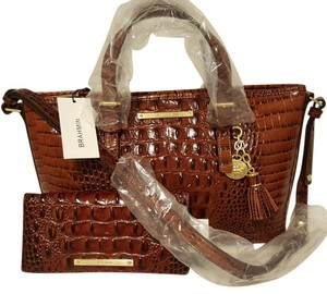 Brahmin Leather Satchel Wallet Sm/med Cross Body Bag