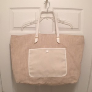 Ann Taylor New Faux Leather Tote Weeken/tarvel Canvas Cream White Beach Bag
