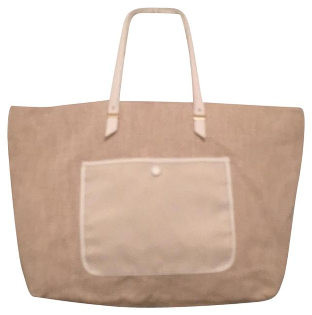 Item - New Linen/Cotton Faux Leather White Beige Canvas Tote