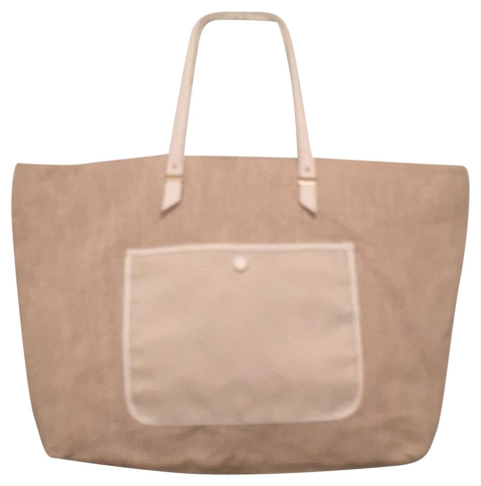 097dc56b037 Ann Taylor New Linen/Cotton Faux Leather White Beige Canvas Tote 67% off  retail