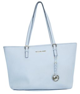 Michael Kors Saffiano Leather Jet Set Tote in White