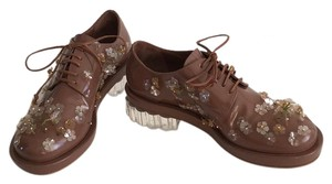 Simone Rocha Flower Lace-up Oxford Brown Flats