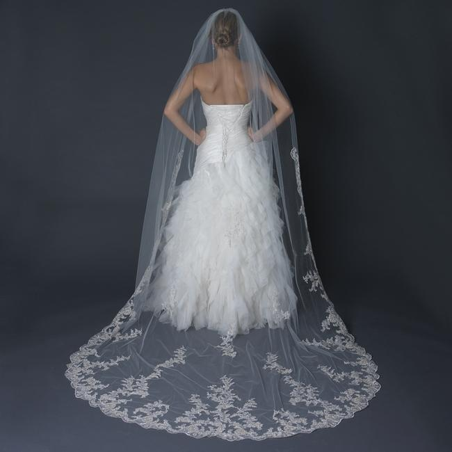 Item - Ivory/Silver/Gold Long Regal Lace Cathedral Length Vei Bridal Veil