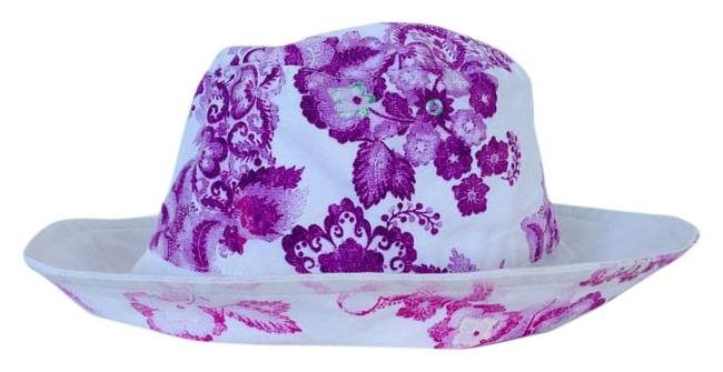 Item - White Purple Pink Bucket Floral Hat