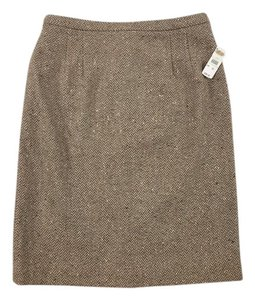 Talbots 100% Wool Herringbone Size 12 Size 10 Straight Skirt Brown