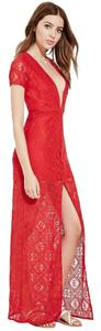 Red Maxi Dress by Forever 21 Maxi V-neck Lace Front Slit