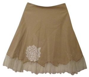 Basil & Maude Embroidered Tulle Skirt Tan, Beige, Cream