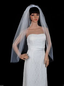 White Medium 2015 New 1t 85cm Elbow Length Cut Edge Bridal Veil