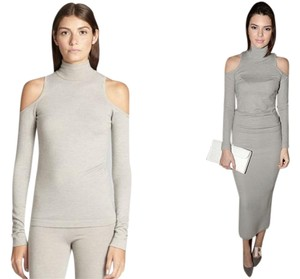 Donna Karan Off Shoulder Cut Out Wool Sweater