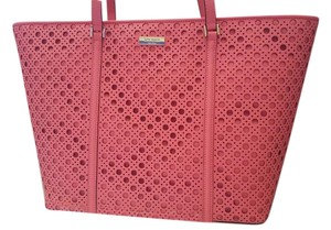 Kate Spade Dot Laser Cut Leather Tote in Pink