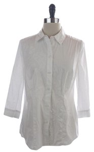 Chico's Cotton Paisley Button Down Shirt White