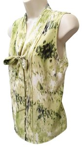 Ann Taylor Abstract Print Silk Top Green