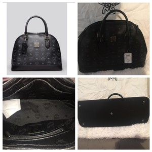 Mcm Large Hertiage Bowler Bag Satchel in Black