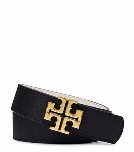 Tory Burch YORK SAFFIANO BELT # 11165215 Black/New Ivory size small