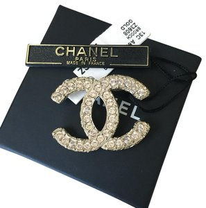 Chanel Chanel Classic CC Gold Crystal Filagree Brooch Pin