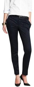 Banana Republic Trousers Pattern Work Office Capri/Cropped Pants Navy Blue