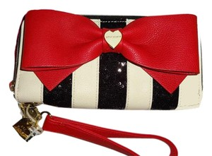 Betsey Johnson DOUBLE ENTRY /SEQUIN BLACK STRIPE/BONE/ RED BOW/ WALLET/gift boxed