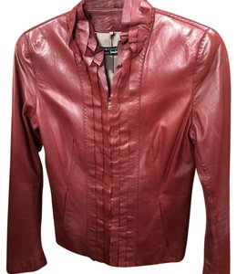 Elie Tahari Reddish Leather Jacket