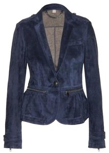 Burberry Military Suede Peplum Pewter Leather Jacket