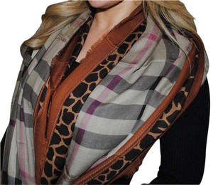 Burberry Animal Brown Print Scarf Size L
