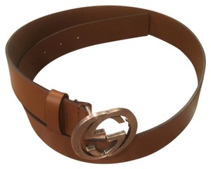 Gucci Men Leather belt with Interlocking G