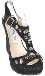 Jimmy Choo Suede T-strap Jeweled Glitter Black, Purple Wedges
