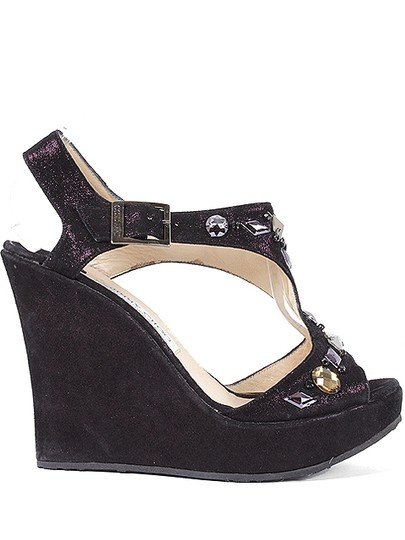 Jimmy Choo Suede T-strap Jeweled Glitter Iridescent Platform Cut-out Summer Black, Purple Wedges