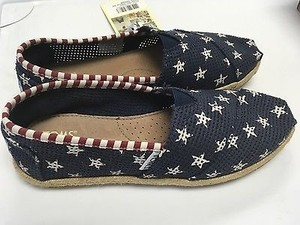 TOMS Classic Navy Red White Freetown Star Slip On Casual B3529 Multi-Color Flats