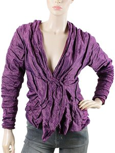 Donna Karan Metallic Ruched Wrap Evening Purple Jacket