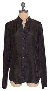 Theory Cotton Silk Button Down Shirt DARK GRAY