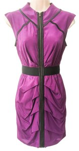 bebe Ruched Pleated Zip Front Sheath Dress