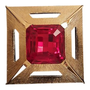 Red Crystal Solitaire Square Retro Vintage Brooch Pin Red Crystal Solitaire Square Retro Vintage Brooch Pin