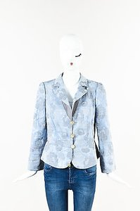 Armani Collezioni Armani Collezioni Light Blue Gray Floral Patterned Ls Blazer Jacket
