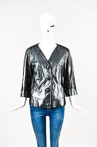 Lafayette 148 New York Metallic Silver Jacket