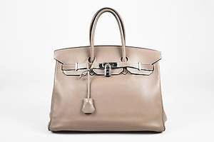 Hermès Gray Swift Leather Palladium Hardware Cm Birkin Tote in Taupe