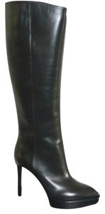 Saint Laurent Leather Knee High Stiletto Pointed Toe Black Boots