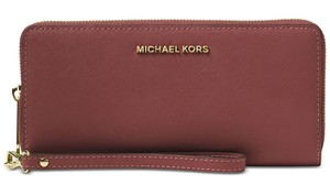 Michael Kors Michael Kors Brick Saffiano Leather Zip Tech Continental Wallet Wristlet