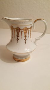 Gold Trim White Contessa Creamer With Handle By Capo Di Monte Italy