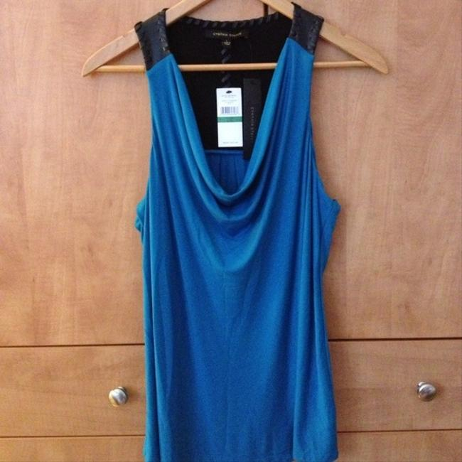 Cynthia Steffe Maddox Maddox Faux Leather Pleather Cowl Neck Racer Back Whipstitch Leather Black And Cerulean Top Blue