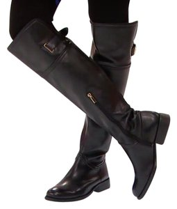Vince Camuto Leather Buckle Riding Black Boots